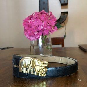 Vintage Gold Elephant Belt Buckle Genuine Leather